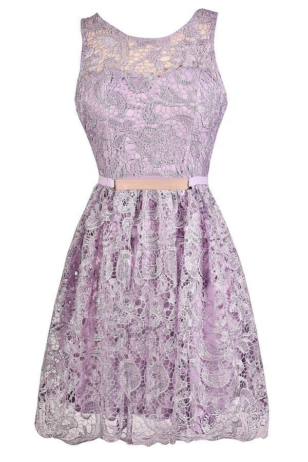 All Tied Up Tie Back Crochet Lace A-Line Dress in Lavender  www.lilyboutique.com
