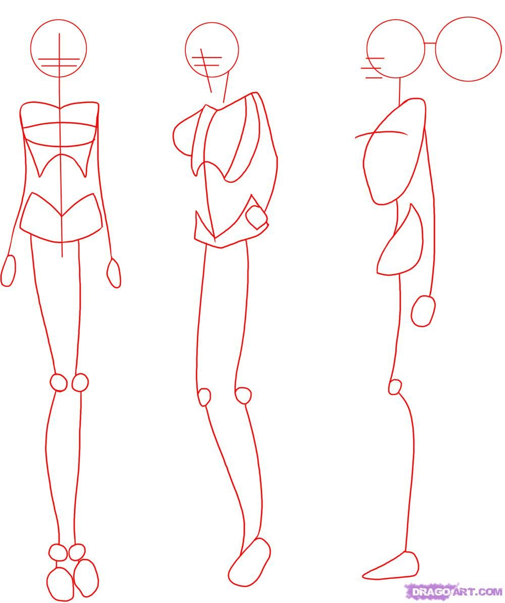 How to draw manga bodies step by step anime females anime draw
