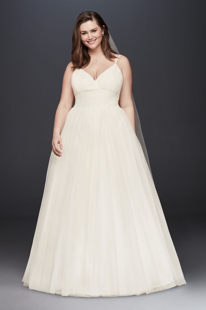 Pleated Tulle Plus Size Ball Gown Wedding Dress Wedding Dress ...