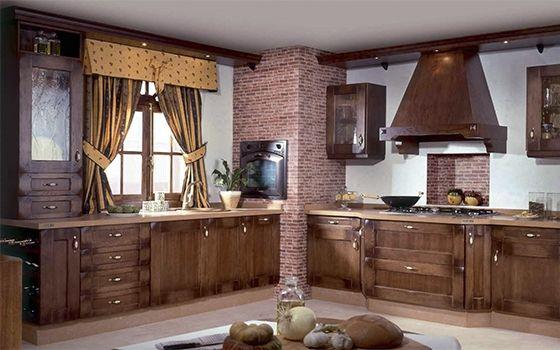 cocina-rustica-de-madera-con-pared-de-ladrillo | Cocinas varios ...
