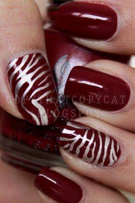 Garnet Red Polish w/Metallic Silver Tiger Stripes