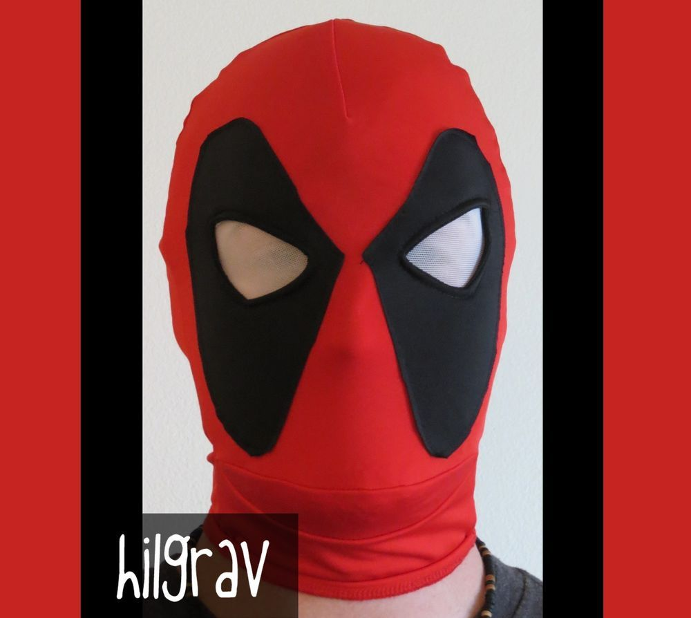 NEW Deadpool Halloween Mask Hood Costume Four Way Stretch One Size ...