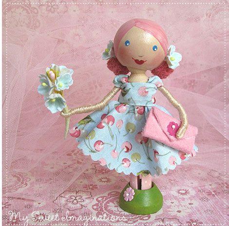Pretty clothespin doll