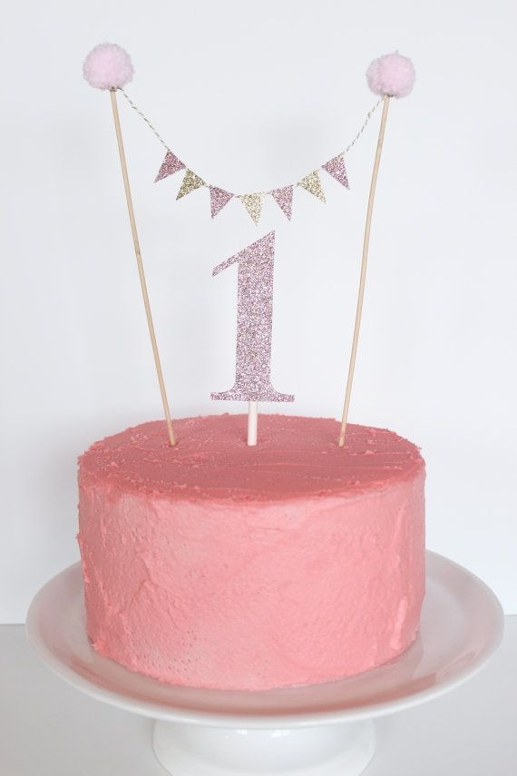 Pink & Gold Banner Cake Topper by MommaCoCoDesigns on Etsy