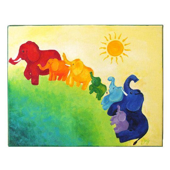 Elephant Rainbow Painting, 11x14 Acrylic Canvas, Wall art for kids ...