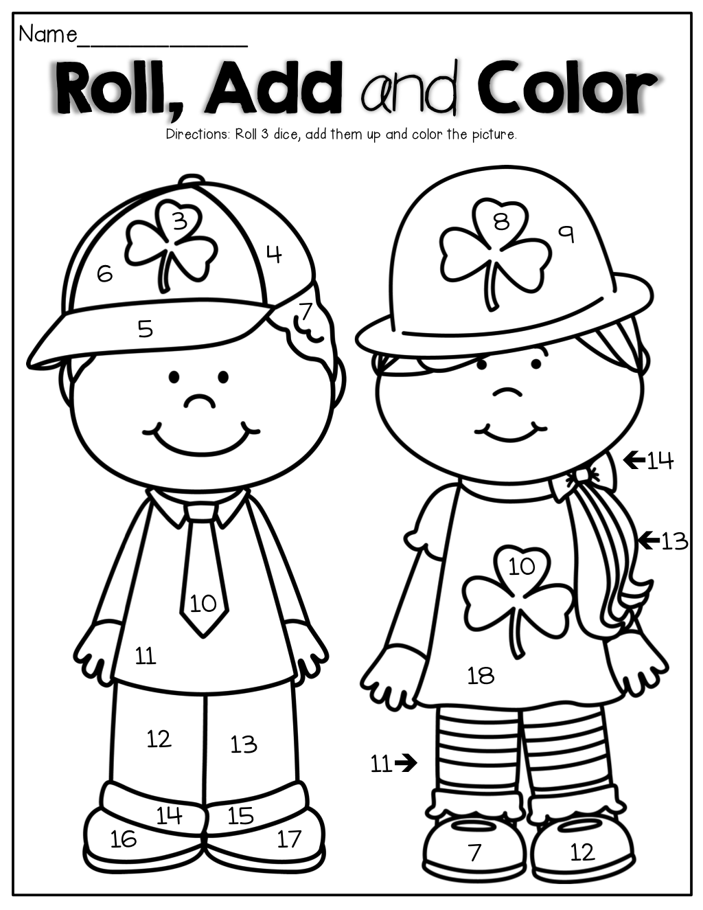Roll, Add and Color! Roll the dice, add them up and color the ...