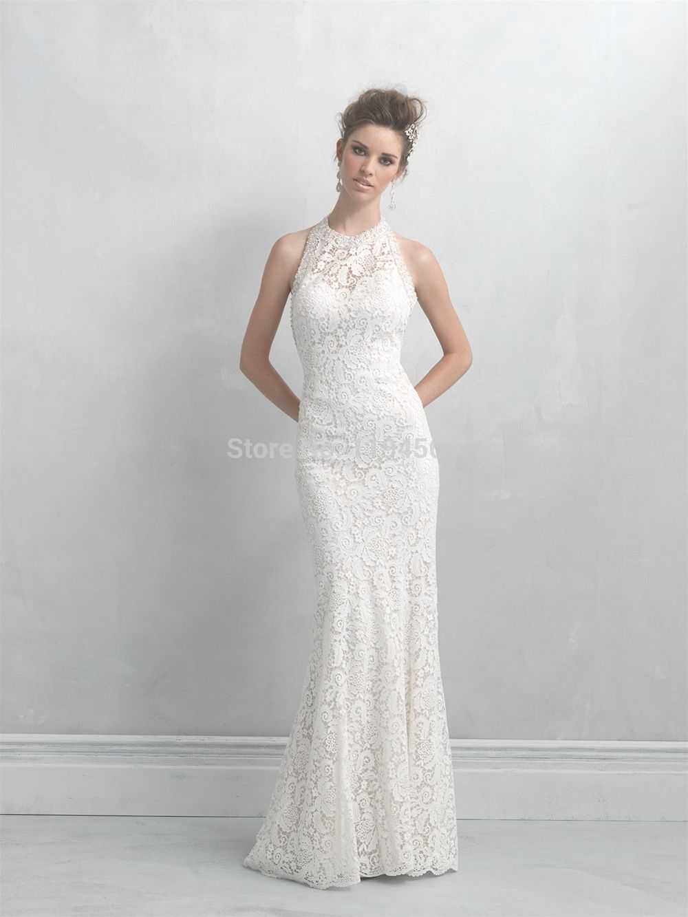 Click to buy ucuc free shipping lace wedding dresses high neck