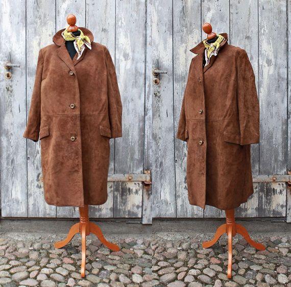 Vintage suede coat 60s ladies brown by WollariumsVintage on Etsy