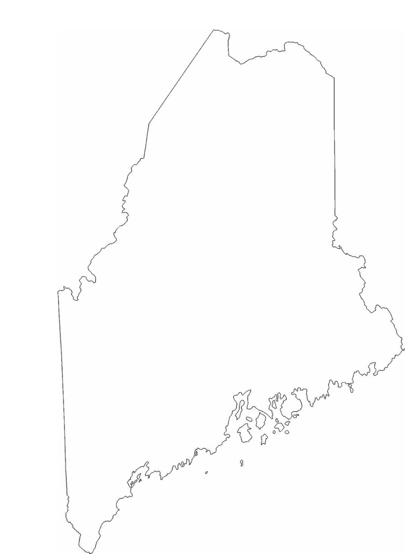 Maine Blank Us Map Shaded - Maine blank physical map