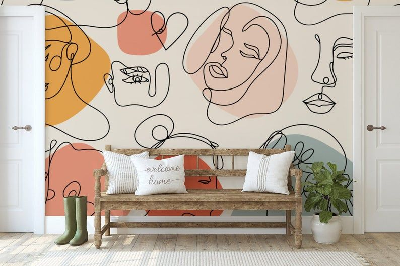 Art Wallpaper Self Adhesive Peel And Stick Abstract Faces Wall Mural Removable Woman Wallpaper Face Wall Mural Colorful Wallpaper Bedroom In 2021 Wall Murals Bedroom Wall Murals Painted Wall Murals