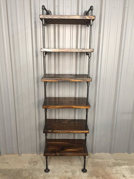 Deep Shelf Bookcase, Wood Shelf, Media Shelf, Deep shelving unit, Shelves, Pipe Shelves, Deep Shelves, Book Shelf, Industrial Furniture
