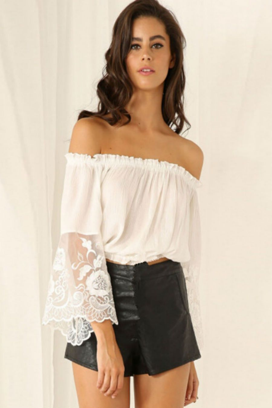 Cute White Off Shoulder Lace Long Sleeve Crop Top