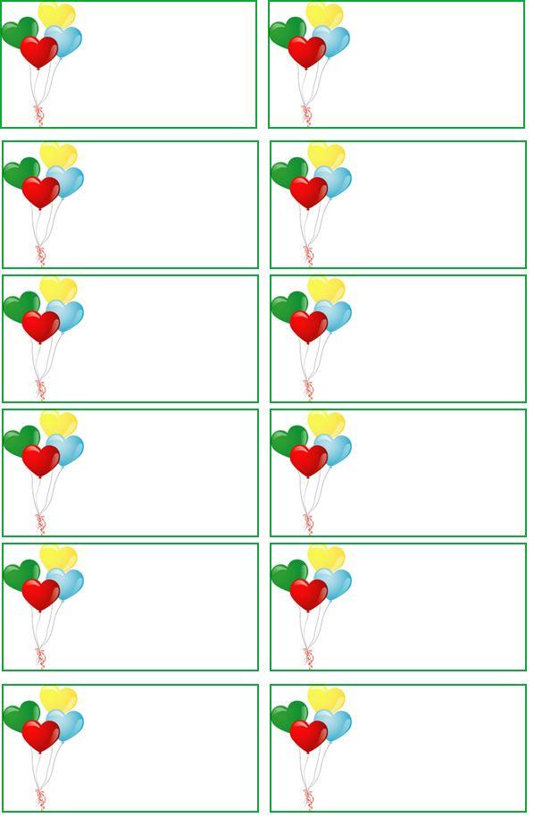 Sweet heart ballons free return address labels templates - printable return address labels free