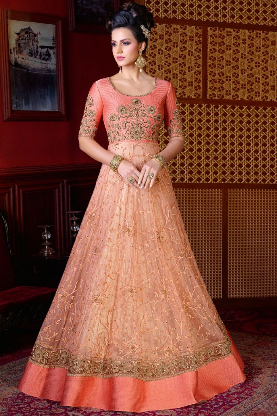 418b29b7c1 Peach Heavy Embroidered Indian Women Traditional Net Fabric Wedding Wear Gown  Style Floor Length Anarkali