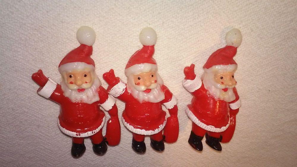 3 Vintage Hard Plastic Santa Light Cover Christmas Tree Ornament Toy Decorations Christmas Light Bulbs Antique Christmas Christmas Lights