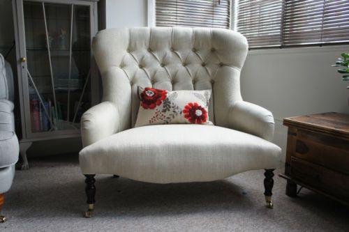 Victorian Style Love Seat Small On Back Sofa Laura Ashley Edwin Natural Ebay