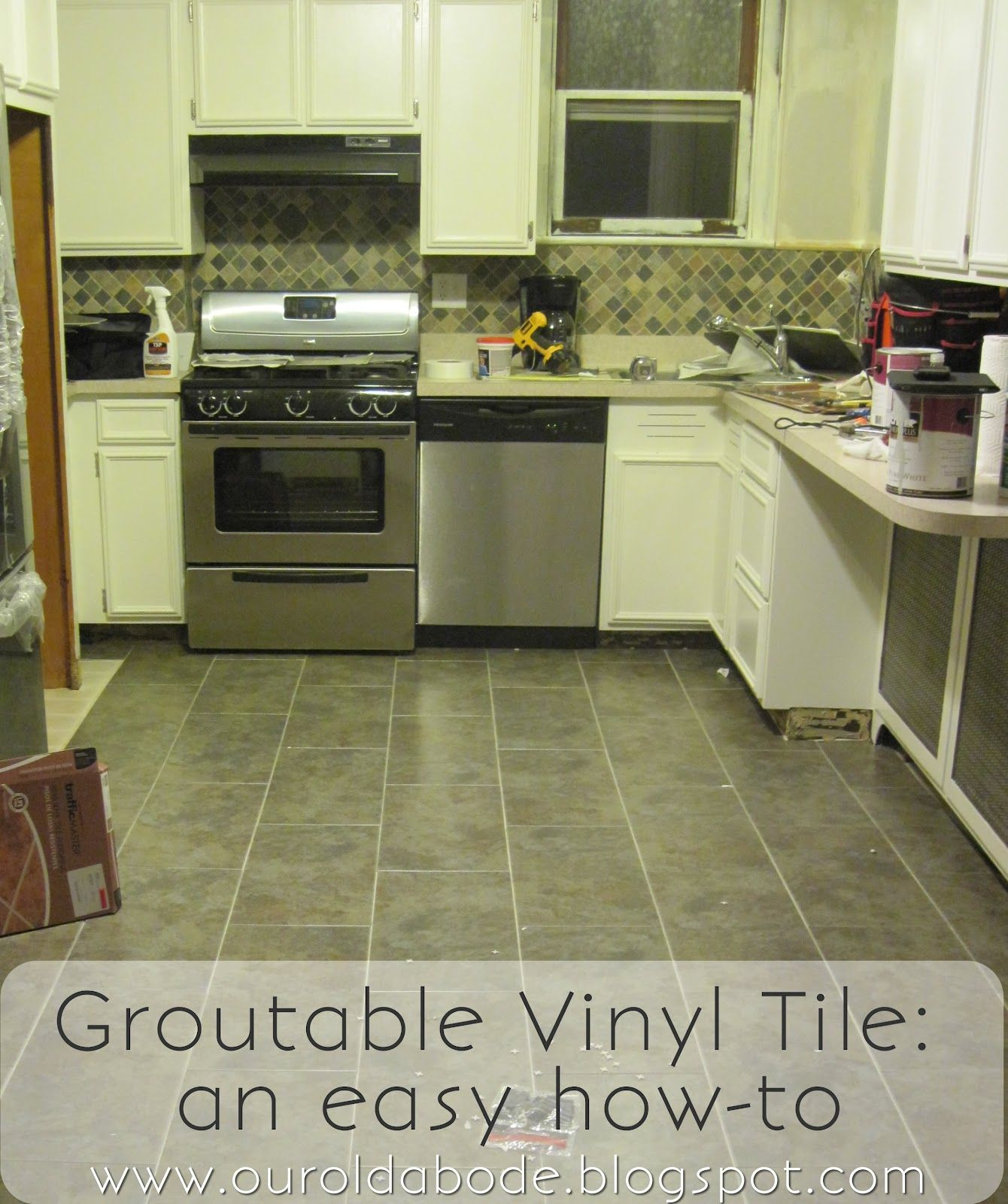 When researching options for our kitchen floor we knew we wanted our old abode kitchen floor groutable vinyl tile dailygadgetfo Choice Image