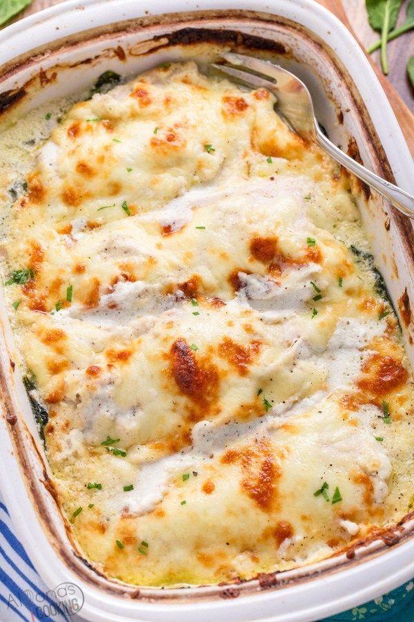 EASIEST Creamy Spinach Chicken Casserole Recipe