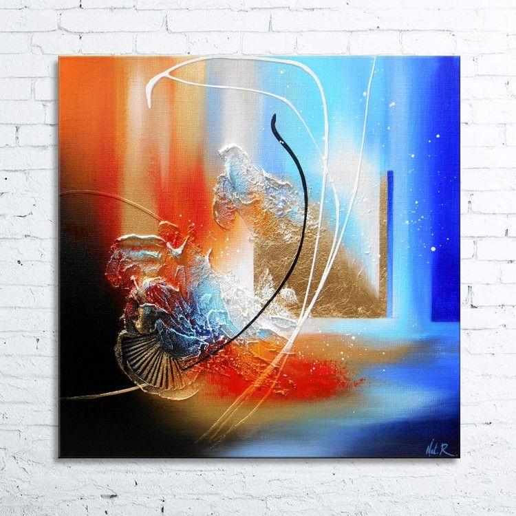 Cajam tableau abstrait peinture en relief avec feuille d - Peindre sur peinture acrylique ...