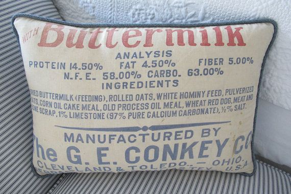 Original Vintage Fertilizer Sack Pillow