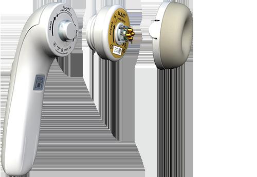 La Pièce à Main WISHpro avec une tête magnétique et une capsule de soin.
