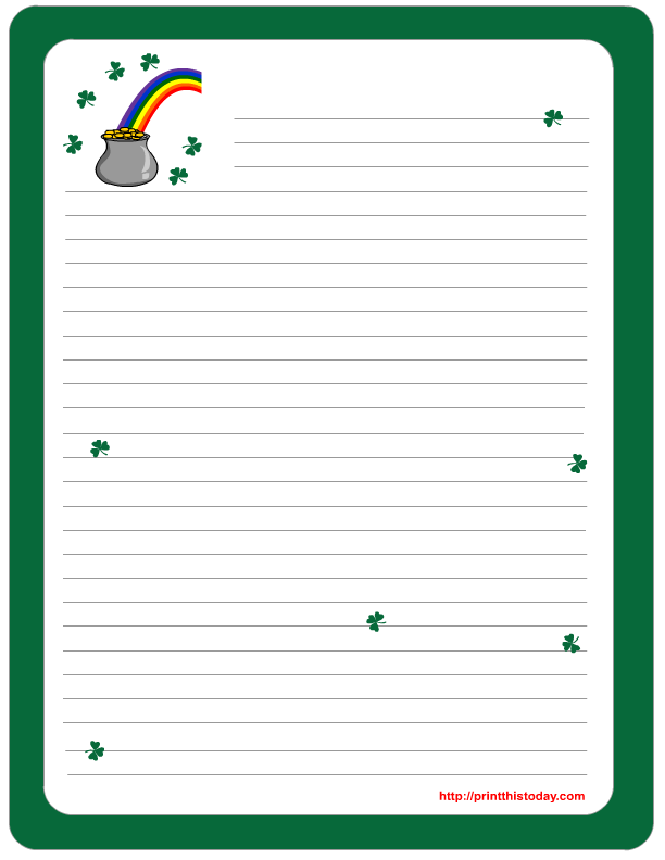 Saint Patrick\'s Day Writing Paper featuring Gold Pot and RainBow ...