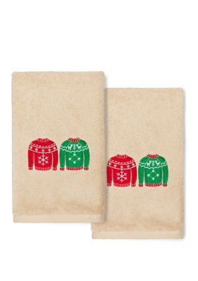 Linum Home Textiles Christmas Sweaters - Embroidered Luxury Turkish Cotton Hand Towel Set of 2 #handtowels