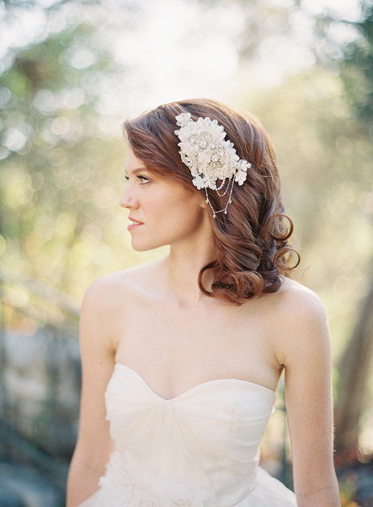 Vintage Inspired Lace Bridal Hair Comb Ivory Crystal Wedding Hair