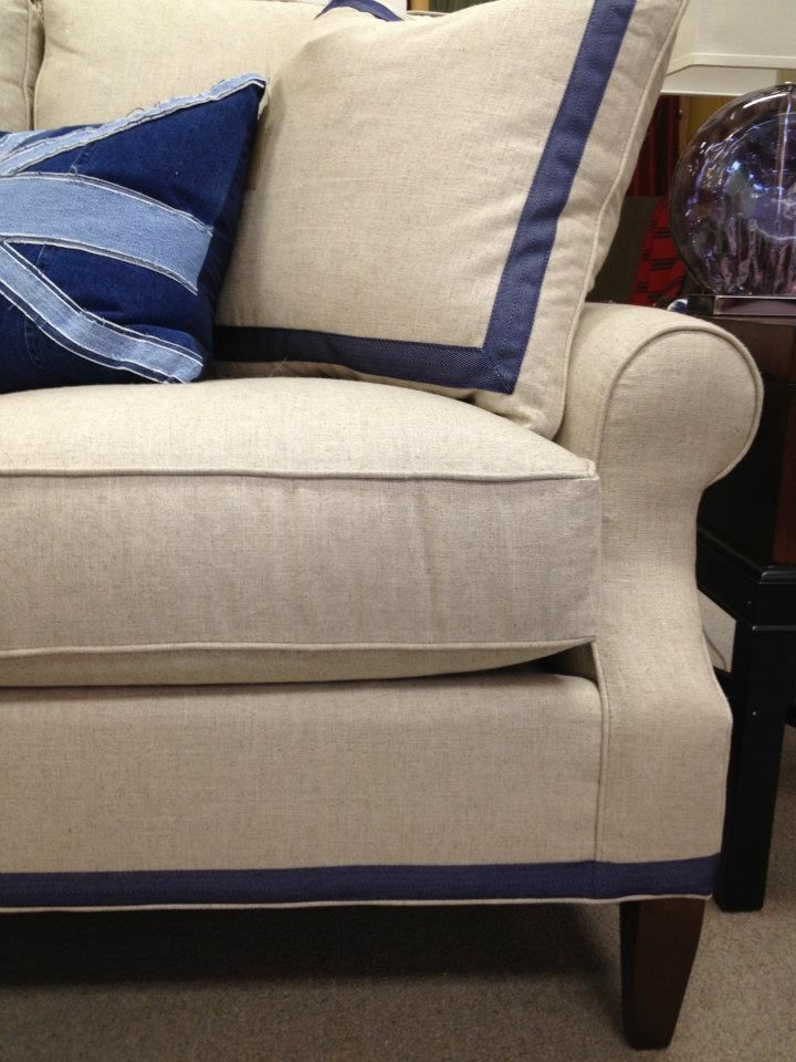 Detail Of The 1 5 Inch Navy Band Added To Cr Laine S Heatherfield Sectional Photo By Broom Corn Fabrics Memphis Tn Www Broomcornfabrics