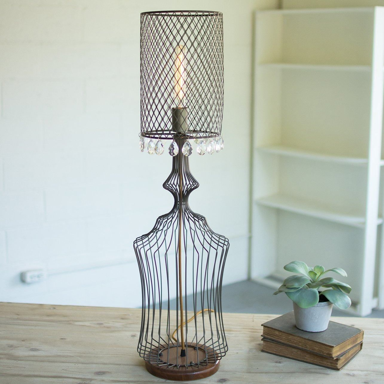 Wire Table Lamp w/metal Mesh Shade & Glass Gems ~ Small #frenchindustrial