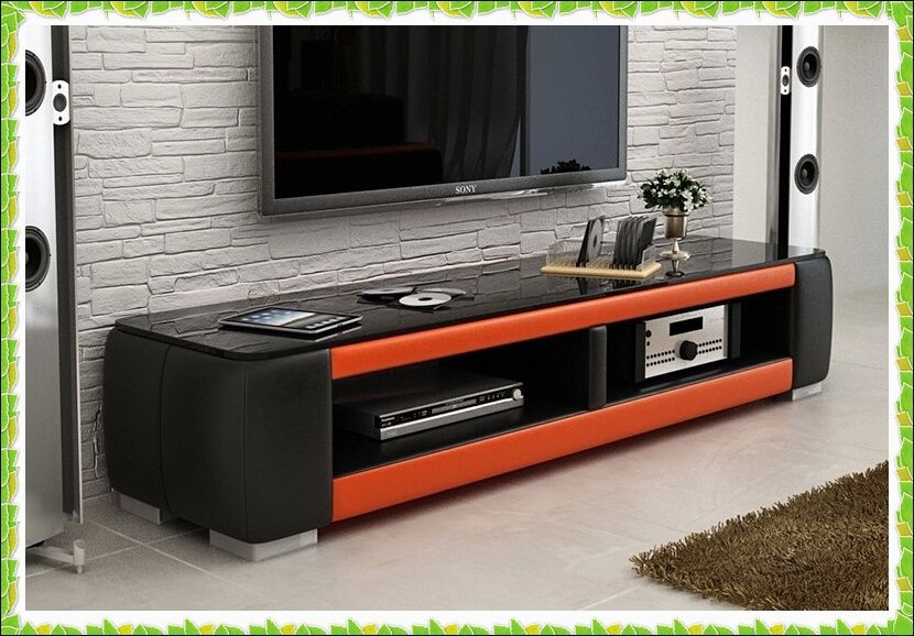 Luxury Black Orange Leather Tv Stands Hot Selling In Tv Stands From Furniture On Aliexpress Com Alibaba Grou Flat Screen Tv Stand Tv Stand Entertaining Decor