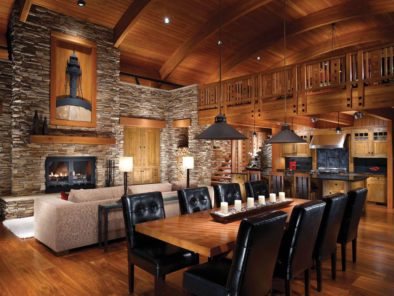 Furniture Log Cabin Decorating Ideas With Wooden Table And Chairs