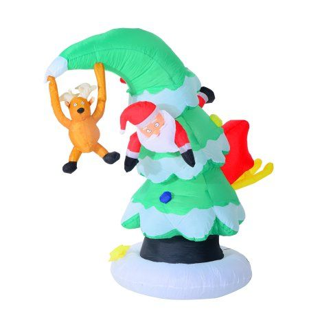 Aosom 7\u0027 Inflatable LED Lit Santa Claus Stuck in Christmas Tree Lawn - inflatable christmas yard decorations