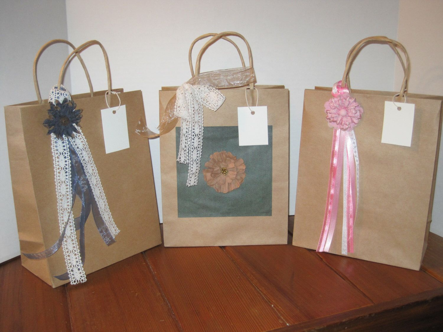 Set of 3 large decorated gift bags, wedding gift bags, all occasion gift bags by DLDesignerCrafts on Etsy https://www.etsy.com/listing/182836545/set-of-3-large-decorated-gift-bags