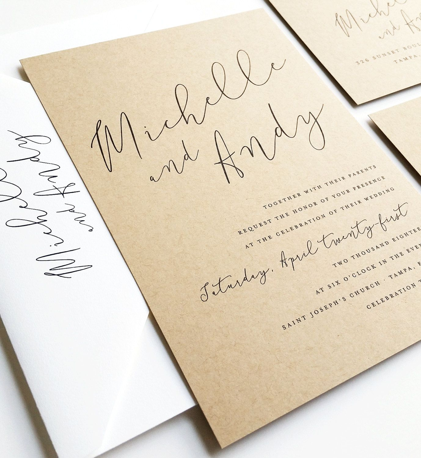 Recycled Wedding Invitations: Michelle Calligraphy Script Recycled Kraft Wedding
