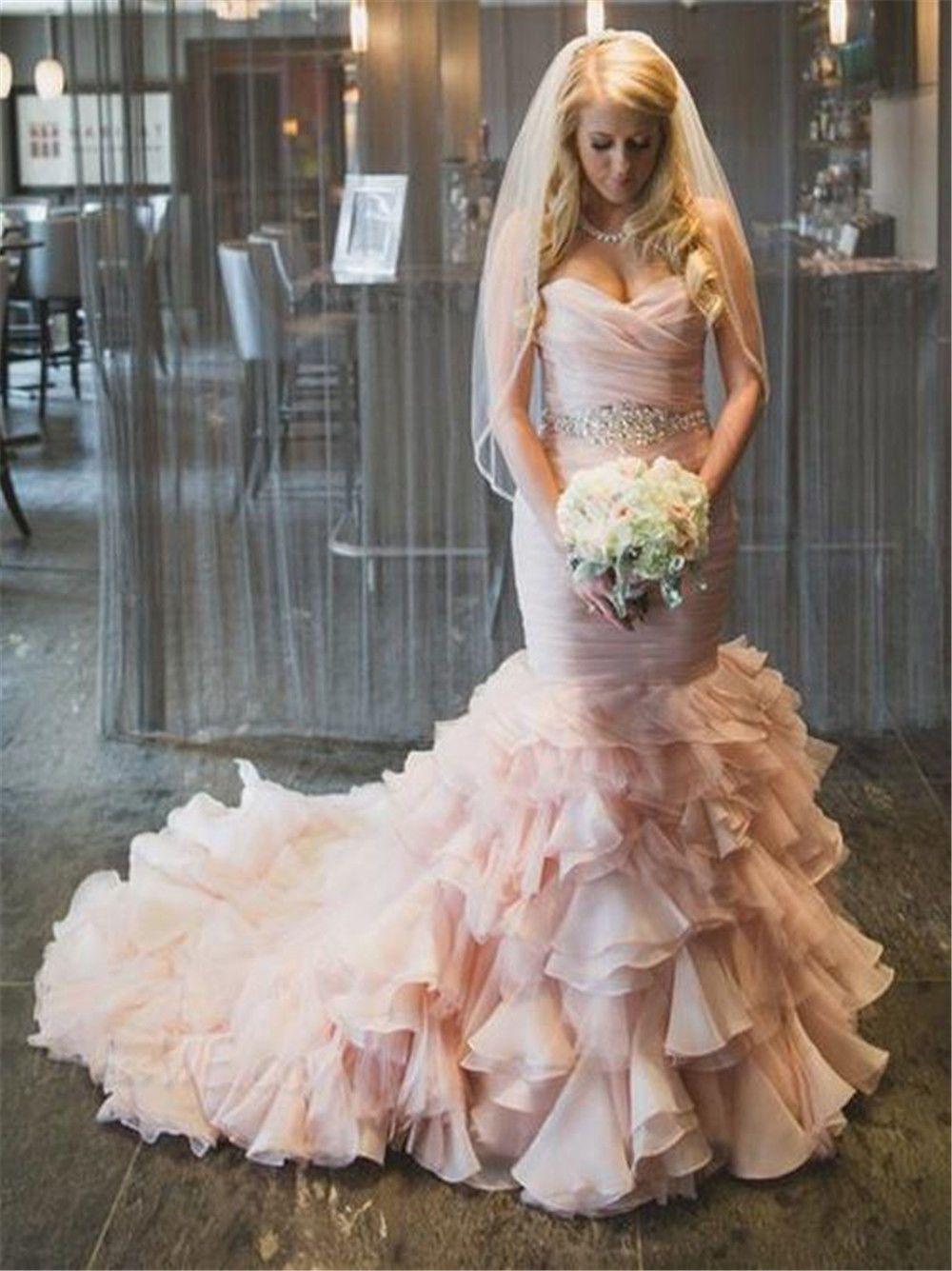 345cf5960eded Pink Mermaid Wedding Dress Bridal Ball Gown Custom Size 6 8 10 12 14 16 18++