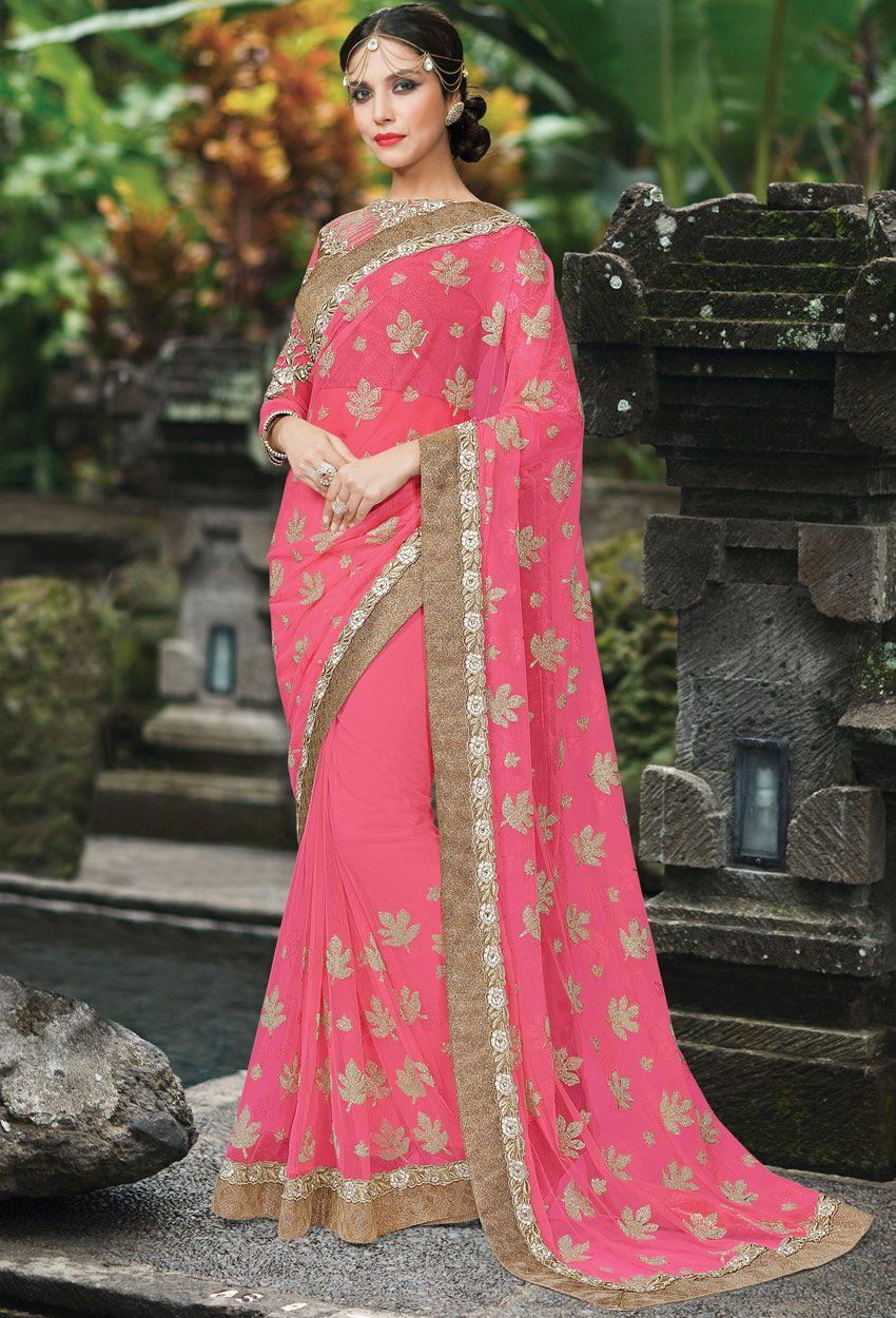 Bright Pink Net Designer Saree