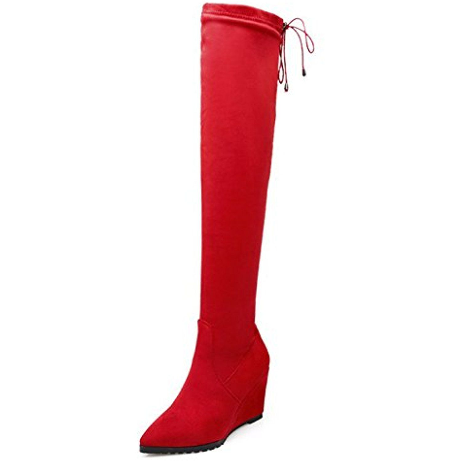 Women's Sexy Pointed Toe Elastic Retractable Back Lace Up Dress Slip On Wedge High Heels Over The Knee High Tall Boots Shoes * You can get additional details at the image link. (This is an affiliate link and I receive a commission for the sales) #OvertheKnee