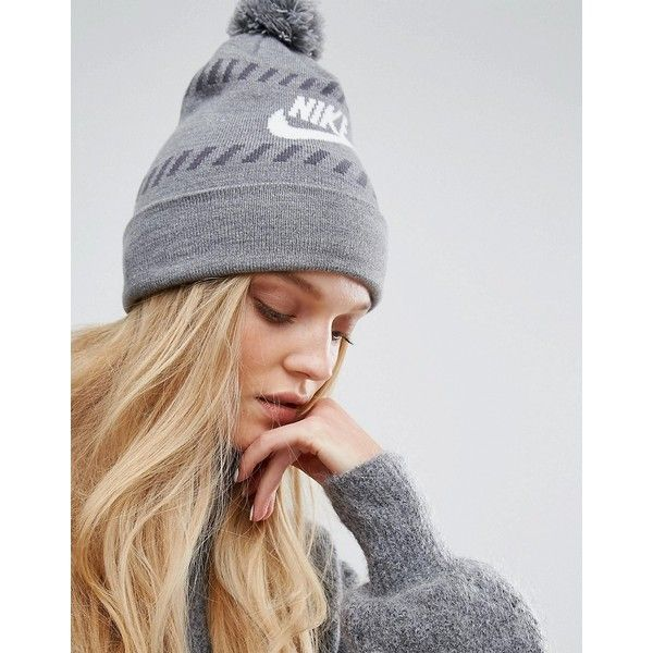 Nike Futura Pom Pom Beanie (£28) ❤ liked on Polyvore featuring accessories, hats, grey, beanie hat, nike beanie, grey hat, gray hat and brimmed beanie
