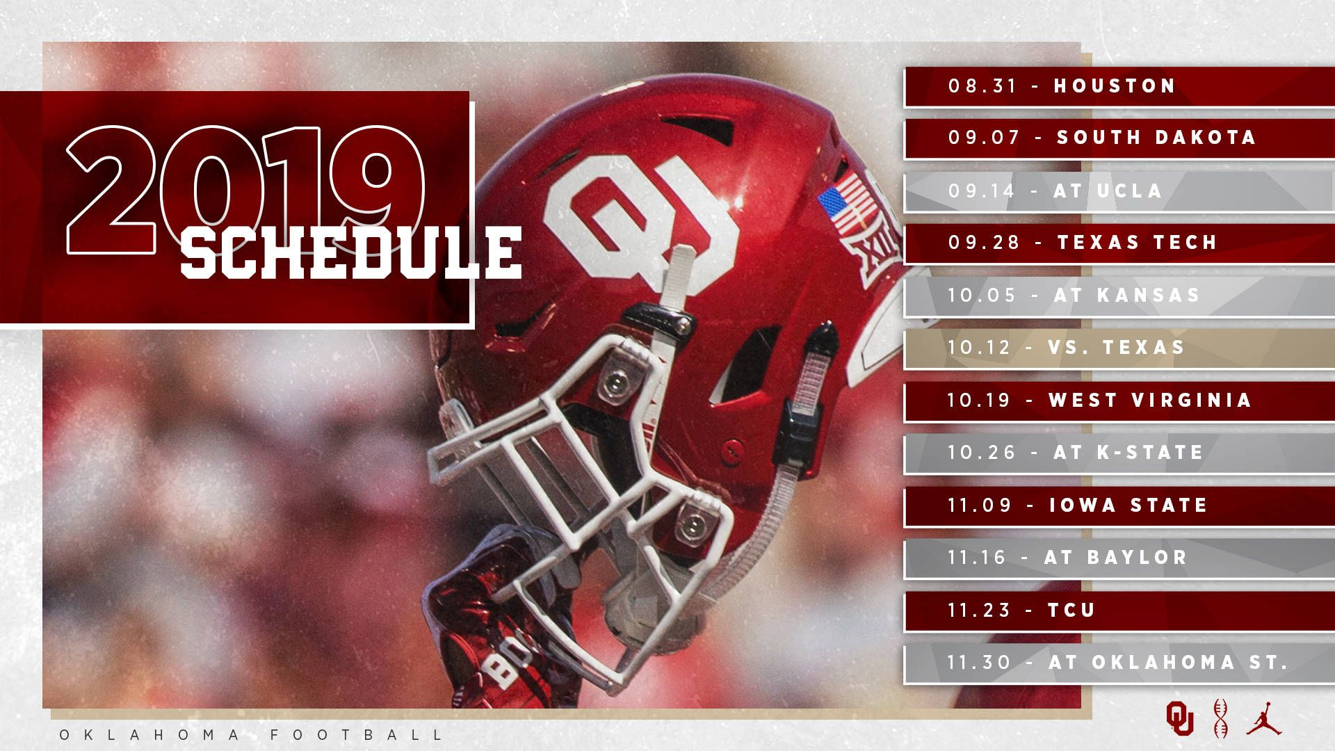 OU Football Schedule Announced University Of Oklahoma Oklahoma Football Ou Football Sooners