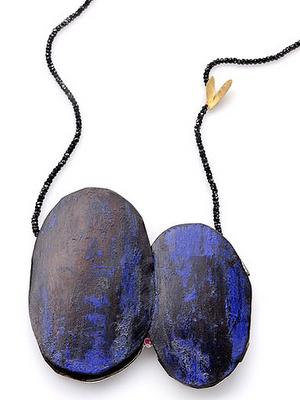 Lucia Massei - pendant 'Comunque e sempre' 18kt yellow gold, silver, iron, ruby, black spinels 2009