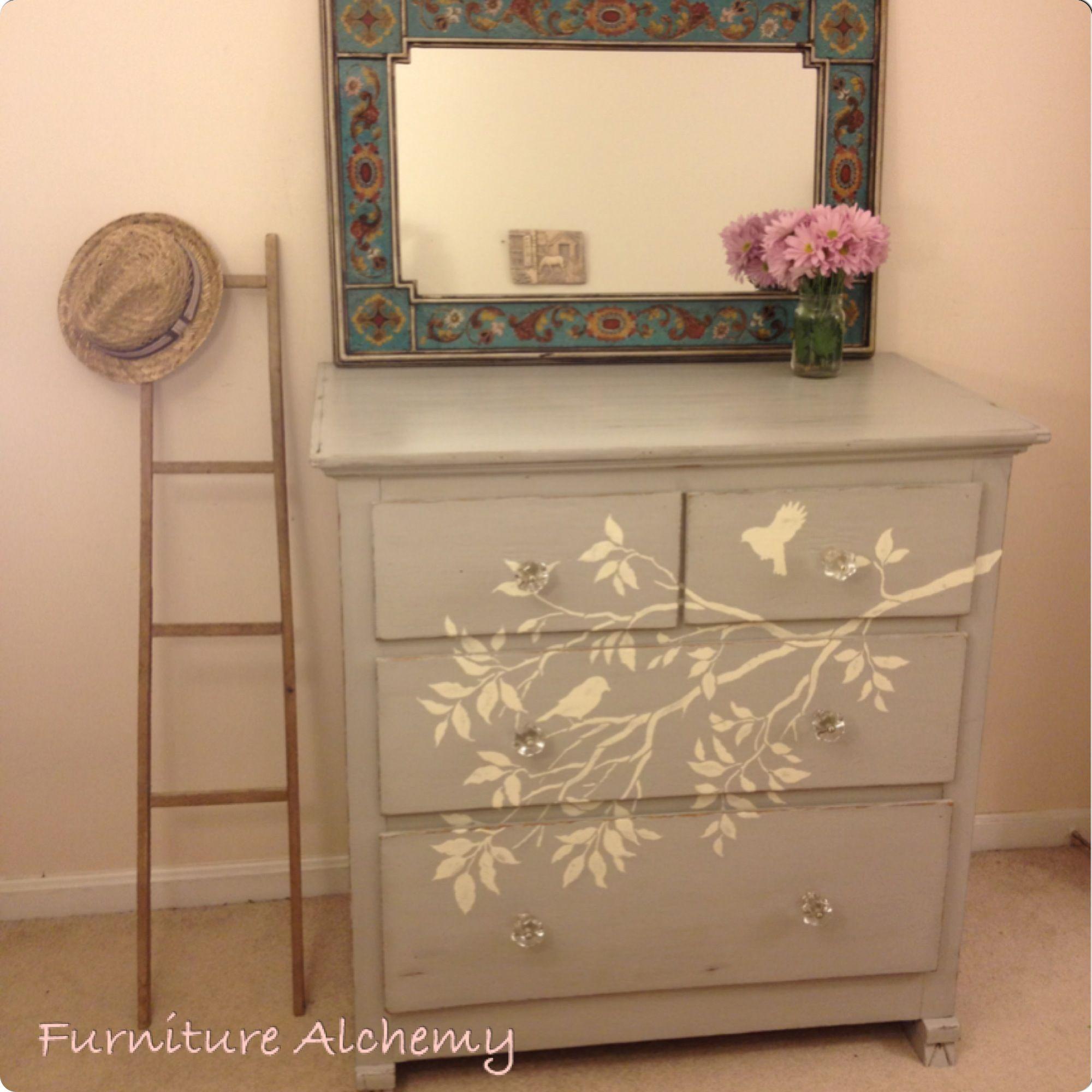 Antique dresser painted in Annie Sloan Chalk Paint Paris Grey with ...