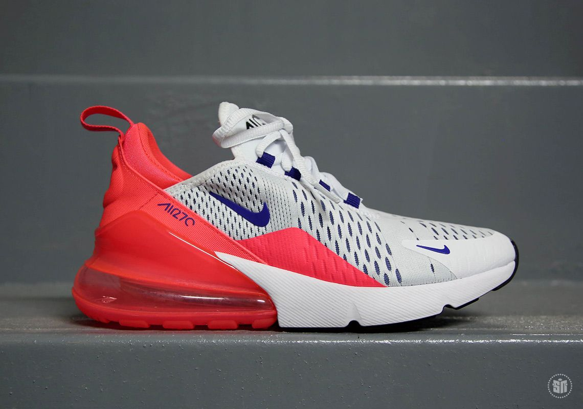 sports shoes 38efc 0890c Nike Air Max 270 White Ultramarine Solar Red AH6789-101   SneakerNews.com