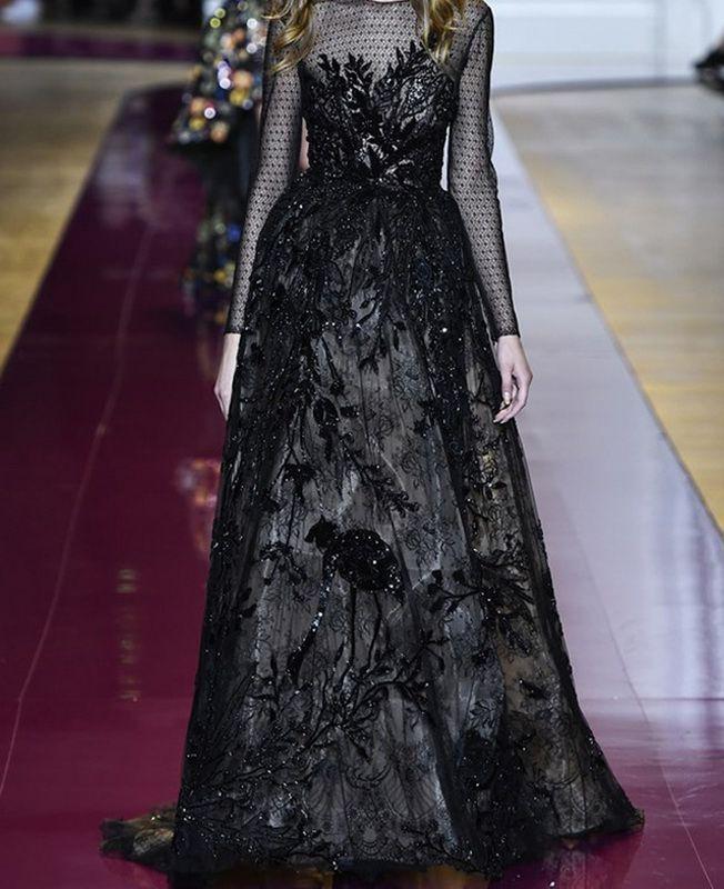 أجمل موديلات الفساتين السوداء في أسبوع الأزياء في باريس 2016 Gowns Dresses Fashion