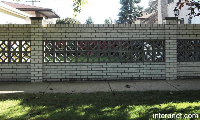 brick fence with decorative concrete blocks florida style