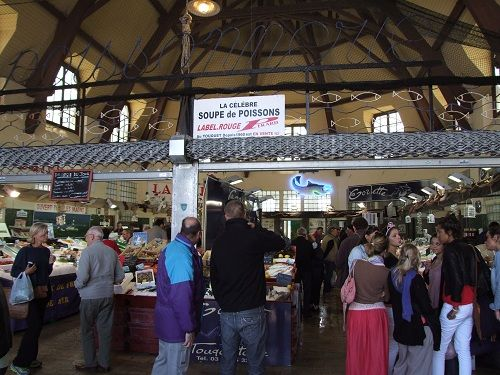 The fish market in the covered art deco market at Le Touquet, Pas-de ...
