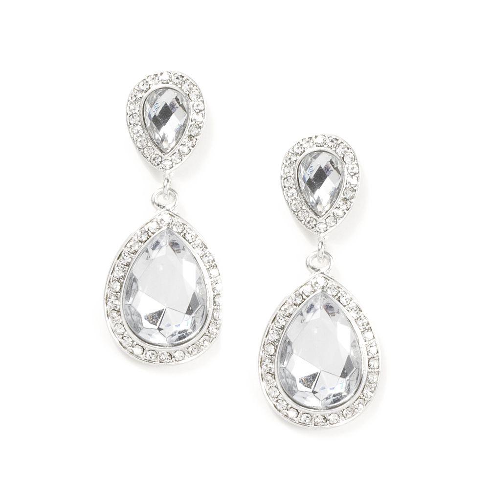 Crystal And Rhinestone Inverted Teardrop Drop Earrings  Icing