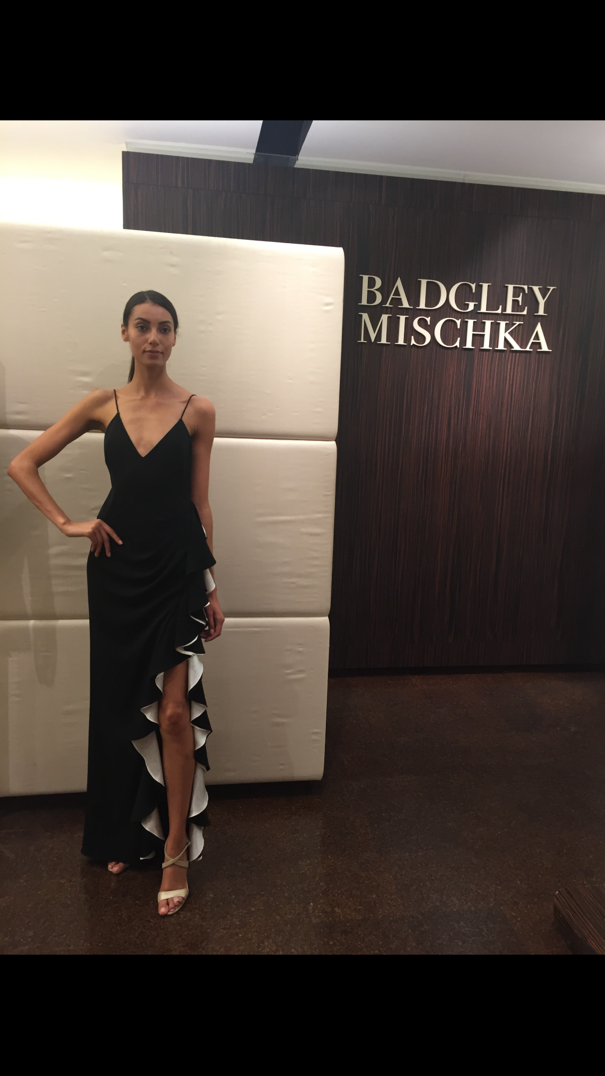 Badgley mishka spring 2017 gown with ruffle slit spaghetti strap