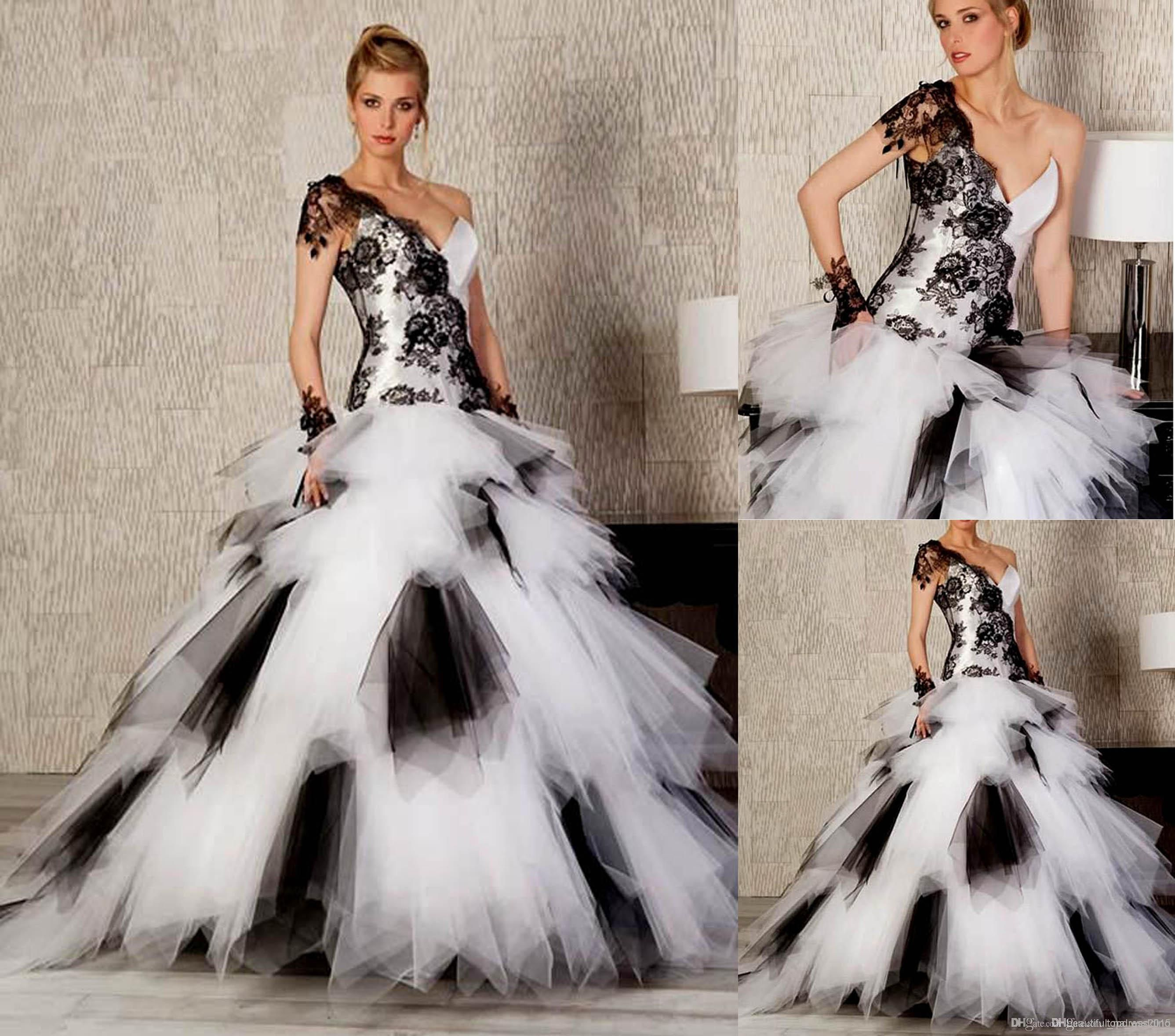 Hot black and white onesoulder ball gown wedding dresses floor