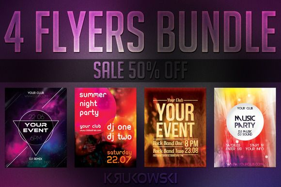 check out simple event flyers bundle by krukowski on creative market